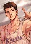 1boy armpits basketball_uniform brown_eyes brown_hair character_request closed_mouth collarbone hand_up hungry_clicker index_finger_raised indoors looking_at_viewer male_focus muscular slam_dunk smile solo sportswear sweat upper_body