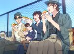 1girl 3boys :d ^_^ akai_shuuichi arm_around_waist beanie belt black_hair blue_eyes blue_jacket blue_pants blue_shirt blue_sky blurry blush brown_hair brown_pants cardigan casual chain-link_fence child closed_eyes coffee_cup collared_shirt commentary_request crossed_legs cup day depth_of_field disposable_cup eating edogawa_conan fast_food feet_out_of_frame fence food food_on_face glasses green_eyes green_headwear green_kimono grey_pants hakama hamburger haneda_shuukichi haori hat holding holding_cup holding_food hot_dog jacket japanese_clothes k_gear_labo kimono long_sleeves looking_at_another meitantei_conan multiple_boys open_clothes open_jacket open_mouth outdoors pants sera_masumi shirt short_hair sitting sky smile sunglasses upper_teeth white_cardigan white_shirt wide_sleeves