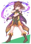 1girl bare_shoulders blush boots bow brown_eyes brown_footwear brown_hair butterfly_wings delthea_(fire_emblem) dress fake_wings fire_emblem fire_emblem_echoes:_shadows_of_valentia fire_emblem_heroes hair_bow highres kutabireta_neko ponytail short_dress simple_background smile solo white_background wings