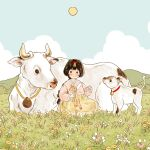1girl animal bangs black_hair blue_sky blush clouds cloudy_sky cow flower grass highres hill horns long_hair long_sleeves original outdoors parted_lips pink_flower ponytail sitting sky smile solo white_flower yellow_flower yoovora