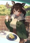 1girl alternate_costume animal_ears antlers blush breath brown_hair casual commentary_request earrings eyebrows_visible_through_hair food green_jacket jacket jewelry kemono_friends kemono_friends_3 long_hair long_sleeves moose_(kemono_friends) moose_ears moose_girl moose_tail noamem sandwich sitting solo sweater tail turtleneck turtleneck_sweater waving white_sweater yellow_eyes