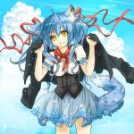 1girl animal_ears bandana blue_hair clouds corset cowboy_shot hair_ribbon holding holding_clothes holding_jacket jacket long_hair nekoya_saki oborozuki_uta original puffy_short_sleeves puffy_sleeves ribbon short_sleeves skirt sky smile solo tail twintails wolf_ears wolf_tail yellow_eyes