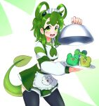 1girl :d apron black_legwear blush commentary cowboy_shot english_commentary freckles frog green_eyes green_hair green_neckwear highres holding lily_(chey) long_sleeves looking_at_viewer maid maid_headdress medium_hair neckerchief open_mouth original serving_dome shirt smile solo spoon symbol-shaped_pupils tail thigh-highs tray waist_apron white_apron yoako