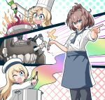 4girls abyssal_ship alternate_costume anzio_princess apron bangs black_pants blonde_hair blue_apron blue_eyes blue_neckwear blush bottle breasts brown_hair chef_hat chef_uniform eyebrows_visible_through_hair fire fork gloves hair_between_eyes hat holding holding_bottle holding_fork holding_spoon janus_(kantai_collection) jervis_(kantai_collection) kantai_collection knife long_hair long_sleeves multiple_girls one_eye_closed open_mouth pants ponytail pot sailor_hat sheffield_(kantai_collection) short_hair simple_background spoon suke_(share_koube) teeth waist_apron white_gloves white_headwear