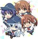 4girls akatsuki_(kantai_collection) anchor_symbol black_hair black_headwear black_legwear blue_eyes blue_sailor_collar blue_skirt brown_eyes chibi commentary_request flat_cap folded_ponytail grey_eyes hat hibiki_(kantai_collection) highres hizuki_yayoi ikazuchi_(kantai_collection) inazuma_(kantai_collection) kantai_collection kneehighs long_hair multiple_girls neckerchief noumi_kudryavka pantyhose pleated_skirt red_neckwear sailor_collar school_uniform serafuku shirt short_hair silver_hair skirt thigh-highs white_background white_shirt