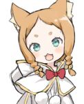 1girl :3 :d animal_ear_fluff animal_ears bell blush bow braid brown_hair capelet capriccio cat_ears commentary_request dress forehead green_eyes hair_bell hair_ornament head_tilt hood hood_down hooded_capelet jingle_bell looking_at_viewer mimi_pearlbaton open_mouth pom_pom_(clothes) re:zero_kara_hajimeru_isekai_seikatsu red_bow short_eyebrows simple_background smile solo thick_eyebrows twin_braids upper_body white_background white_capelet white_dress