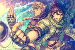 2boys armlet artist_name back-to-back battle_tendency belt blonde_hair bola_(weapon) brown_hair bubble clacker dated dyresbroom feathers fingerless_gloves gloves green_eyes grin hair_feathers hair_ornament headband index_finger_raised jojo_no_kimyou_na_bouken looking_at_viewer looking_back male_focus midriff multiple_boys navel official_alternate_costume open_fly paisley patterned_clothing scarf short_hair shoulder_belt sideways_glance smile studded_belt triangle_print unbuttoned