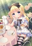 1girl alice_(wonderland) alice_in_wonderland apron bangs black_bow blonde_hair blue_dress blue_eyes blue_sleeves blush bow chair chitosezaka_suzu closed_mouth commentary_request cup day detached_sleeves dress eyebrows_visible_through_hair flower food frilled_apron frills hair_bow holding holding_cup long_hair macaron on_chair outdoors puffy_short_sleeves puffy_sleeves rose rose_bush sandwich saucer short_sleeves sitting smile solo spoon strapless strapless_dress striped striped_legwear table tablecloth teacup teapot thigh-highs tiered_tray very_long_hair waffle white_apron wrist_cuffs