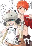 1boy 1girl abs armband artoria_pendragon_(all) artoria_pendragon_(caster) bare_shoulders belt blonde_hair blush commentary_request emiya_shirou fate/grand_order fate_(series) gloves green_eyes grey_gloves grey_headwear hat highres igote limited/zero_over orange_hair petting sengo_muramasa_(fate) sleeveless sureddo-mannan translation_request yellow_eyes