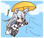 1girl animal_ears background_text blue_eyes blush chibi clouds hibiki_(kantai_collection) kantai_collection long_hair mary_poppins parasol silver_hair skirt sky solo umbrella uniform verniy_(kantai_collection) wolf_ears yellow_umbrella yoru_nai
