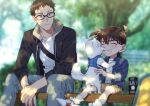2boys ^_^ animal bangs blue_jacket blurry blurry_background blush brown_eyes brown_hoodie brown_shorts can casual child closed_eyes closed_mouth commentary_request day dog drawstring edogawa_conan glasses grey_pants grin hair_between_eyes harness holding holding_leash hood hood_down hoodie jacket k_gear_labo kazami_yuuya leash licking long_sleeves looking_at_another male_focus meitantei_conan multiple_boys open_clothes open_hoodie open_jacket outdoors pants shirt shoes short_hair shorts sitting skateboard smile sneakers socks teeth tongue tongue_out white_dog white_footwear white_legwear white_shirt