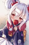 1boy 1girl azur_lane bangs blurry blush bow candy_apple clothes_grab commander_(azur_lane) commentary_request covered_mouth depth_of_field double_bun eyebrows_visible_through_hair eyes_visible_through_hair food from_above fur_scarf hair_between_eyes hair_bow hair_ornament hairband highres holding irokari japanese_clothes kimono laffey_(snow_rabbit_and_candied_apple)_(azur_lane) long_hair long_sleeves looking_at_viewer looking_up military military_uniform naval_uniform obi pov red_eyes sash shade sidelocks twintails uniform white_hair wide_sleeves