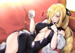 1girl alternate_costume alternate_hairstyle bare_shoulders black_dress blonde_hair blue_eyes blush bracelet breasts center_opening commentary couch covered_nipples cup cynthia_(pokemon) dress drink english_commentary evening_gown feather_boa formal fur_trim hair_ornament hair_over_one_eye heart highres holding holding_cup holding_drink jewelry large_breasts lips long_hair looking_at_viewer lying nail nail_polish necklace open_mouth parted_lips pokemon pokemon_(game) pokemon_dppt purple_nails smile solo teeth vialnite