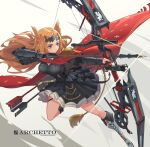 1girl animal_ears archetto_(arknights) arknights arrow_(projectile) artist_name black_dress blonde_hair blue_eyes boots bow_(weapon) breasts cloak closed_mouth commentary_request compound_bow cross-laced_footwear drawing_bow dress epaulettes full_body gauntlets heterochromia highres holding holding_bow_(weapon) holding_weapon lace-up_boots long_hair pleated_dress red_cloak red_eyes sima_naoteng solo tail weapon