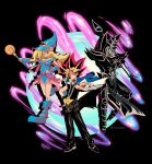 1girl 2boys absurdres belt belt_collar black_footwear black_hair black_pants black_shirt blonde_hair blue_jacket card chain closed_mouth collar collarbone commentary dark_magician dark_magician_girl duel_disk duel_monster energy hand_on_hip hand_up highres jacket jewelry millennium_puzzle multicolored_hair multiple_boys necklace pants phil_vzq shirt shoes spiky_hair yami_yuugi yu-gi-oh!
