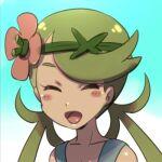 1girl dark_skin dark_skinned_female e_keroron flower green_hair hair_flower hair_ornament long_hair lowres mallow_(pokemon) open_mouth pokemon pokemon_(game) pokemon_sm smile solo twintails