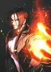 1boy azuma_kyoutarou_(artist) bangs black_background black_vest brown_eyes brown_hair fire hairband highres kusanagi_kyou light_particles long_sleeves open_mouth parted_bangs pyrokinesis shirt short_hair simple_background smile snk solo the_king_of_fighters the_king_of_fighters_xv upper_body v-shaped_eyebrows vest white_hairband white_shirt zipper