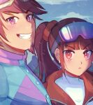 1boy 1girl 310v3 :< bangs blue_jacket blunt_bangs blurry blurry_background blush brown_hair closed_mouth commentary danganronpa_(series) danganronpa_v3:_killing_harmony earrings english_commentary eyebrows_visible_through_hair eyewear_on_head face facial_hair fang goatee goggles goggles_on_head grin hair_ornament hair_scrunchie harukawa_maki jacket jewelry long_hair looking_at_viewer momota_kaito multicolored multicolored_clothes multicolored_jacket outdoors pink_hair pink_jacket purple_hair red_eyes red_jacket scrunchie shirt smile snowing twintails upper_body violet_eyes