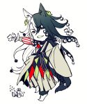 1boy animal_ear_fluff animal_ears ashiya_douman_(fate) asymmetrical_clothes asymmetrical_hair bell black_eyes black_hair cat_boy cat_ears cat_tail chibi curly_hair earrings fate/grand_order fate_(series) flat_color hair_bell hair_between_eyes hair_intakes hair_ornament japanese_clothes jewelry kimono long_hair magatama magatama_earrings male_focus morumoru_(kuromrmr) multicolored_hair open_clothes open_kimono ribbed_sleeves shikigami smile solo spot_color standing standing_on_one_leg tail two-tone_hair very_long_hair white_background white_hair