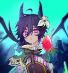 1boy absurdres black_hair blue_background blue_hair bow braid cape claws dragon dragon_boy dragon_wings floating floating_object flower gem genshin_impact glowing glowing_hair gradient_hair hair_flower hair_ornament hand_up highres horns kit_(nnmv4282) long_hair looking_at_viewer male_focus multicolored_hair open_mouth otoko_no_ko simple_background slit_pupils solo twin_braids venti_(genshin_impact) violet_eyes western_dragon white_flower wings