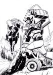 2boys autobot clenched_hand commission decepticon derivative_work english_commentary fighting highres jazz_(transformers) lineart marvel mecha monochrome mountain multiple_boys nick_roche no_humans open_hand open_mouth parody ravage transformers visor