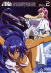 2girls agent_aika aika_(series) bangs bare_arms bare_legs bare_shoulders bikini blue_eyes blue_hair breasts brooch copyright_name cover covered_nipples cravat dark_skin dark_skinned_female dress dvd_cover earrings earth english_text engrish_text evil_smile eyebrows_visible_through_hair hand_on_hip highres jewelry large_breasts laughing lipstick logo long_hair makeup multiple_girls neena_hagen official_art pink_hair planet ranguage red_lips scarf shivie_aika smile space space_craft sumeragi_aika swimsuit thighs transformation under_boob yamauchi_noriyasu