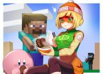 1boy 1girl arms_(game) beanie block blonde_hair blush dish domino_mask eyebrows_visible_through_mask food full_body hat highres katwo knit_hat mask meat min_min_(arms) minecraft noodles ramen short_hair shorts steve_(minecraft) super_smash_bros.