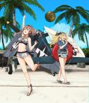 2girls aircraft airplane annin_musou ball barefoot blonde_hair blue_eyes blue_shirt blush brown_hair closed_eyes day eyebrows_visible_through_hair food gambier_bay_(kancolle) hair_between_eyes highres holding holding_food ice_cream innertube kantai_collection long_hair multiple_girls open_mouth palm_tree sandals saratoga_(kancolle) shirt short_sleeves shorts side_ponytail smile tree twintails white_shorts