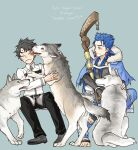 2boys animal black_hair blue_hair bracelet capelet chaldea_uniform closed_eyes closed_mouth collared_shirt cu_chulainn_(fate)_(all) cu_chulainn_(fate/grand_order) dog earrings fate/grand_order fate_(series) frown fujimaru_ritsuka_(male) fur-trimmed_hood fur_trim grimace grin hood hooded_capelet hozumi_riya jewelry licking long_hair long_sleeves looking_at_another male_focus multiple_boys pants petting red_eyes shirt short_hair simple_background sitting smile spiky_hair staff type-moon white_wolf wolf wooden_staff