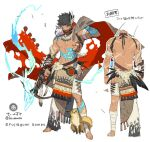 1boy animal animal_on_shoulder arm_tattoo arrow_(projectile) back bandaged_arm bandaged_leg bandages barefoot belt bird black_eyes black_hair dare_ga_tame_no_alchemist facial_hair feathers glowing glowing_arrow glowing_tattoo hair_between_eyes japants leg_tattoo male_focus muscular navel official_art owl scar scar_on_mouth shirtless shoulder_tattoo simple_background sketch squirrel stomach_tattoo tattoo toenails torn torn_clothes tribal veins white_background