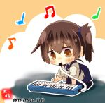1girl accordion artist_logo artist_name beamed_eighth_notes black_legwear blue_hakama blush brown_eyes brown_hair eighth_note eyebrows_visible_through_hair hair_between_eyes hakama hakama_skirt instrument japanese_clothes kaga_(kantai_collection) kantai_collection keyboard_(instrument) long_hair melodica music musical_note playing_instrument quarter_note side_ponytail solo taisa_(kari) tasuki thigh-highs twitter_username