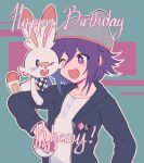 1boy 310v3 :d ;d alternate_costume bangs black_jacket blush checkered checkered_scarf collarbone danganronpa_(series) danganronpa_v3:_killing_harmony fang gen_8_pokemon green_background happy_birthday hat highres holding holding_poke_ball hood hood_down hooded_jacket jacket long_sleeves one_eye_closed open_clothes open_jacket open_mouth ouma_kokichi outline poke_ball pokemon pokemon_(creature) pokemon_(game) pokemon_swsh purple_hair red_background scarf scorbunny shirt smile upper_body violet_eyes white_shirt