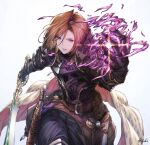 1girl apollonia_vaar armor belt black_armor brown_hair commentary_request energy gauntlets granblue_fantasy holding holding_sword holding_weapon ivris leaning_forward magic scabbard sheath short_hair simple_background solo sword violet_eyes weapon white_background