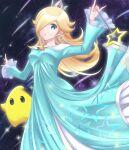 1girl blonde_hair blue_dress blue_eyes crown dress earrings fingernails hair_over_one_eye jewelry kakiko210 long_hair long_sleeves looking_at_viewer luma_(mario) mario_(series) rosalina star_(sky) star_(symbol) star_earrings super_mario_galaxy super_smash_bros. wand