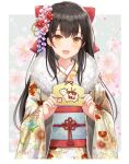 1girl 2021 :d bangs black_hair bow brown_eyes chinese_zodiac commentary ema eyebrows_visible_through_hair floral_print flower fur_collar hair_bow hair_flower hair_ornament highres holding japanese_clothes kimono kirifrog long_hair long_sleeves looking_at_viewer new_year obi open_mouth original pink_flower print_kimono red_bow red_flower sash smile solo very_long_hair wide_sleeves year_of_the_ox