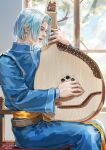 1boy artist_name blue_hair blue_robe dated ferdinand_(honzuki_no_gekokujou) highres honzuki_no_gekokujou indoors instrument jane_mere jewelry long_sleeves music open_mouth playing_instrument ring short_hair sitting solo window