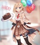 1girl absurdres balloon blonde_hair blue_eyes blurry blurry_background breasts cake capelet collared_shirt dayshiart english_commentary food happy_birthday high-waist_skirt highres holding holding_balloon holding_tray hololive hololive_english medium_breasts medium_hair pocket_watch shirt shirt_tucked_in skirt smile solo syringe thigh-highs thigh_strap tray virtual_youtuber watch watson_amelia white_shirt