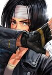 1boy bangs black_hair black_jacket brown_eyes collarbone covered_mouth fingerless_gloves gloves headband hungry_clicker jacket kusanagi_kyou leather leather_jacket male_focus open_clothes open_jacket shirt short_hair solo the_king_of_fighters white_headband white_shirt zipper