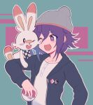 1boy 310v3 :d ;d alternate_costume bangs black_jacket blush checkered checkered_scarf collarbone commentary danganronpa_(series) danganronpa_v3:_killing_harmony fang gen_8_pokemon green_background hat highres holding holding_poke_ball hood hood_down hooded_jacket jacket long_sleeves one_eye_closed open_clothes open_jacket open_mouth ouma_kokichi outline poke_ball pokemon pokemon_(creature) pokemon_(game) pokemon_swsh purple_hair red_background scarf scorbunny shirt smile upper_body violet_eyes white_shirt