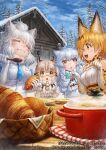 4girls animal_ear_fluff animal_ears arctic_fox_(kemono_friends) bangs bare_shoulders blonde_hair bow bowtie breast_pocket brown_hair capelet closed_eyes closed_mouth coat commentary_request copyright day eating elbow_gloves eurasian_lynx_(kemono_friends) extra_ears eyebrows_visible_through_hair fisheye food fox_ears fur_collar glasses gloves hands_up high-waist_skirt holding holding_food holding_spoon kemono_friends lain light_brown_hair lion_ears long_hair looking_at_another lynx_ears medium_hair multicolored_hair multiple_girls necktie official_art open_mouth orange_eyes outdoors parted_lips paw_pose plaid_neckwear plate pocket pot print_gloves print_neckwear print_skirt semi-rimless_eyewear serval_(kemono_friends) serval_ears serval_print shirt short_hair silver_hair skirt sleeveless sleeveless_shirt smile snow spoon streaked_hair table two-tone_hair under-rim_eyewear watermark white_hair white_lion_(kemono_friends) wooden_spoon yellow_eyes