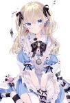 1girl alice_in_wonderland apron bangs between_legs black_bow black_legwear black_neckwear black_ribbon blonde_hair blue_dress blue_eyes blue_footwear blush bow bowtie brooch card closed_mouth commentary_request dress ear_piercing earrings eyebrows_visible_through_hair floating_card frilled_shirt_collar frills garter_straps hair_between_eyes hair_ribbon hand_between_legs heart heart_earrings high_heels highres jewelry looking_at_viewer original piercing playing_card puffy_short_sleeves puffy_sleeves remimim ribbon short_sleeves simple_background sitting solo striped striped_legwear thigh-highs twintails v_arms wariza watch white_apron white_background white_legwear