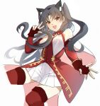1girl animal_ears bangs black_hair blush breasts cat_ears dress earrings elbow_gloves fate/grand_order fate_(series) fingerless_gloves gloves hoop_earrings ishtar_(fate)_(all) ishtar_(fate/grand_order) jewelry kernel_killer long_hair looking_at_viewer medium_breasts open_mouth parted_bangs red_dress red_eyes red_gloves red_legwear skirt smile thigh-highs thighs two_side_up w white_skirt