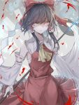 1girl ascot bangs blood bow breasts brown_hair collarbone commentary cowboy_shot detached_sleeves eyebrows_visible_through_hair frilled_shirt_collar frills gohei gradient gradient_background grey_background hair_between_eyes hair_bow hair_tubes hakurei_reimu hegata_(hegatia_lapis) highres holding holding_stick looking_at_viewer parted_lips petticoat pink_eyes red_bow red_skirt red_vest sarashi short_hair_with_long_locks skirt skirt_set small_breasts solo standing stick swept_bangs touhou v-shaped_eyebrows vest wide_sleeves yellow_neckwear yin_yang_orb
