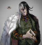1boy :q absurdres alternate_costume alternate_hairstyle ashiya_douman_(fate) asymmetrical_hair black_eyes black_hair curly_hair earrings fate/grand_order fate_(series) fingernails formal fur_jacket green_eyeshadow green_lipstick green_nails green_pants green_vest hair_between_eyes highres jewelry licking lipstick long_hair looking_to_the_side magatama magatama_earrings makeup male_focus multicolored_hair multiple_rings necktie noka_(noka8103) own_hands_together pants sharp_fingernails solo tongue tongue_out two-tone_hair upper_body very_long_fingernails very_long_hair vest white_hair