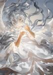 1girl angel_wings artist_name feathered_wings floating_hair glowing green_eyes grey_hair hands_up highres jane_mere long_hair original short_sleeves solo upper_body white_wings wings