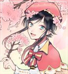 1boy black_hair blue_eyes bow branch cherry_blossoms cookie_galo eyebrows_visible_through_hair flower frilled_sleeves frills gem genshin_impact gradient_hair hair_flower hair_ornament hat holding holding_branch long_sleeves looking_at_viewer male_focus multicolored_hair open_mouth otoko_no_ko petals pink_background pink_hair pink_headwear short_hair_with_long_locks sidelocks simple_background smile solo tree_branch venti_(genshin_impact)