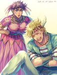 2boys :d artist_name battle_tendency blonde_hair caesar_anthonio_zeppeli closed_mouth commentary_request crossdressing crossed_arms dated dress dyresbroom earrings facial_mark feathers hair_feathers hair_ornament hands_on_hips happy_tears headband jewelry jojo_no_kimyou_na_bouken joseph_joestar_(tequila) joseph_joestar_(young) laughing leaning_forward lipstick makeup male_focus multiple_boys neck_ring necklace open_mouth pink_dress purple_hair rouge_(makeup) shirt short_hair sitting smile striped striped_shirt sweat taut_clothes taut_dress tearing_up tears