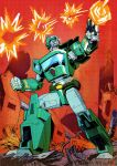 1boy autobot blue_eyes cigar clenched_hand collaboration english_commentary explosion firing gun highres holding holding_gun holding_weapon kup looking_up losineko mecha nick_roche no_humans science_fiction solo the_transformers_(idw) transformers weapon