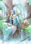 1boy animal belt blue_hair bracelet branch capelet closed_eyes closed_mouth cu_chulainn_(fate)_(all) cu_chulainn_(fate/grand_order) deer earrings fairy fate/grand_order fate_(series) forest fur-trimmed_hood fur_trim hood hood_down hooded_capelet horns jewelry kahunout leaf long_hair male_focus nature open_toe_shoes outdoors pants red_eyes smile solo spiky_hair sunlight type-moon water