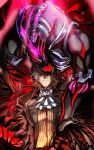 1boy antonio_salieri_(fate/grand_order) black_suit claws corruption cravat dark_persona energy european_clothes fangs fate/grand_order fate_(series) formal grey_hair highres long_sleeves looking_at_viewer lying male_focus monster nonono_nagata on_back pinstripe_suit red_eyes shirt short_hair striped striped_shirt suit